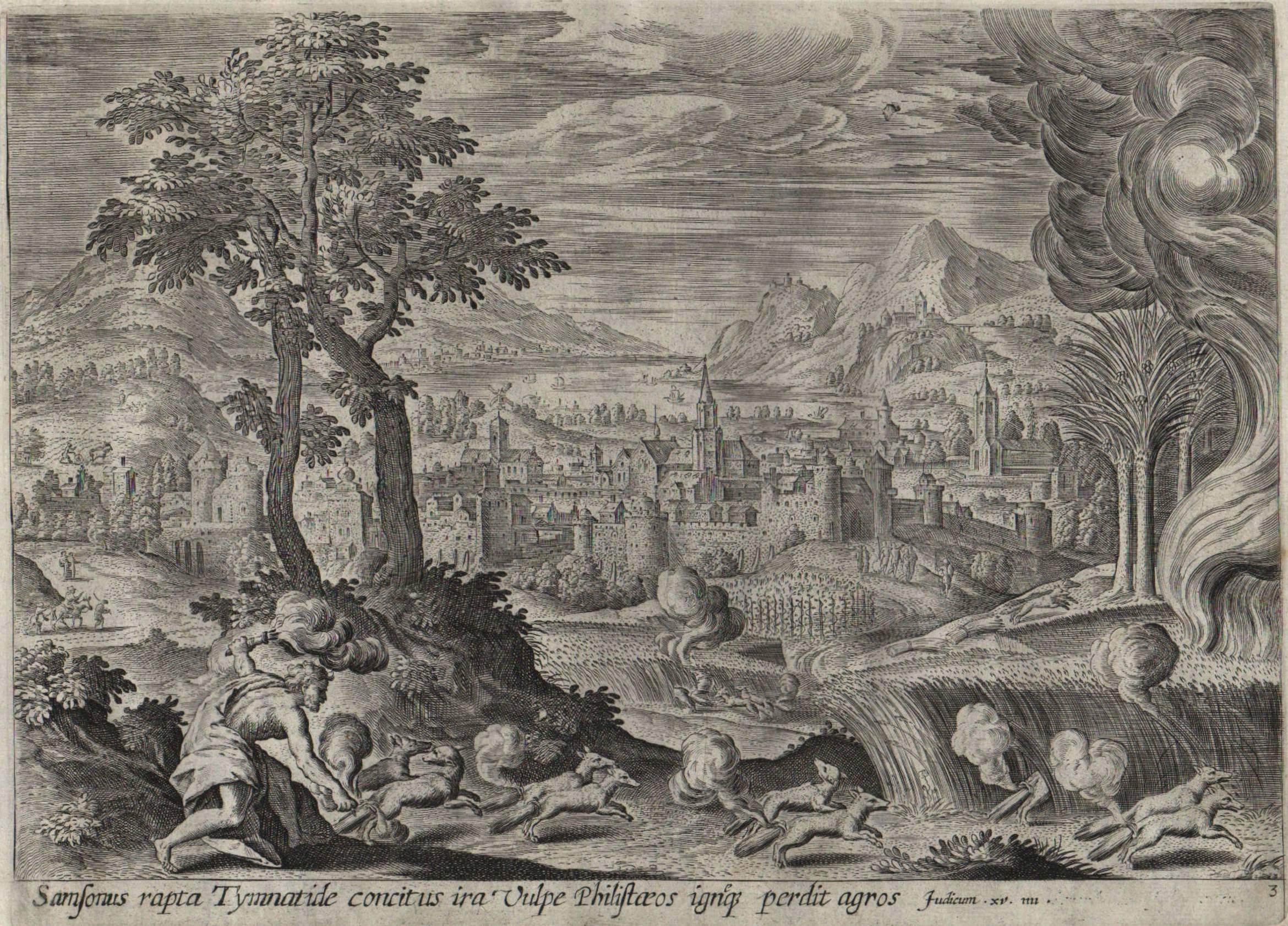 Antonius Wierix - The Story of Samson - 1643 Set of 7 Plates - Old Master  Engraving Landscape, Print For Sale at 1stdibs