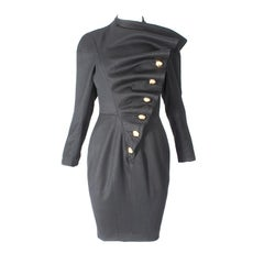 Antony Price 'bird wing inspired' thick black wool dress Ca.1987