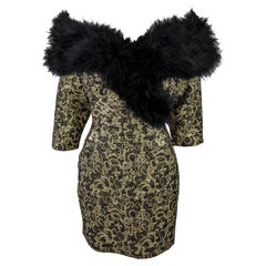 Antony Price Vintage 1980s Feather Trim Gold Brocade Cocktail Party Dress