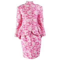 Antony Price Vintage Pink Bustle Skirt Suit, 1980s