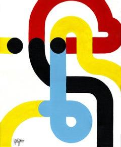 """Aligned Man"", Neue Constructivist Abstract Character Acrylic Painting"