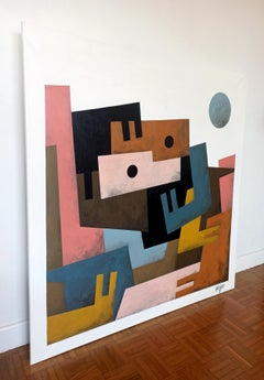 """""""Alone Together"""", Large Neue Constructivist Semi-Abstract Acrylic Painting"""