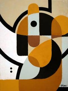 """Big Ears"", Dumbo Neue Constructivist Semi-Abstract Knife Acrylic Painting"