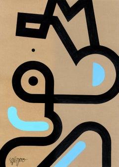 """""""Borderface 2"""", Neue Constructivist Semi-Abstract Acrylic Painting on Kraft"""