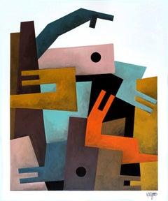 """Crawlers"", Neue Constructivist Semi-Abstract Acrylic Painting"
