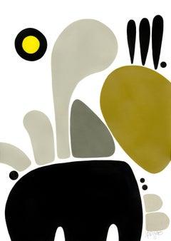 """""""Elefaon"""", Neue Constructivist Abstract Character Acrylic Painting"""