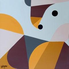 """Floating Comma"", Neue Constructivist Geometric Abstract Acrylic Painting"