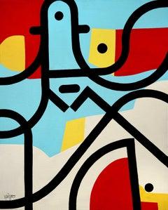 """Johnny Bigoudi"" Vivid Colors Neue Constructivist Character Acrylic Painting"