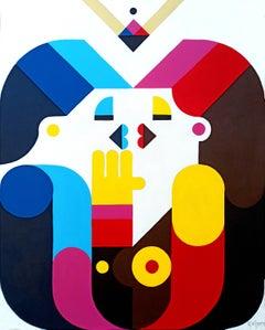 """Love in a Shell"", Kiss Neue Constructivist Semi-Abstract Acrylic Painting"