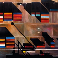 """""""Oakland Port"""", Sky View of Containers on the Dock at Dusk or Dawn Oil Painting"""