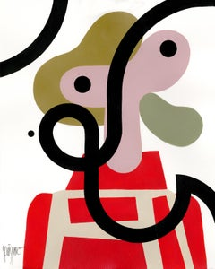 """Pelvis Presley"", Neue Constructivist Abstract Character Acrylic Painting"