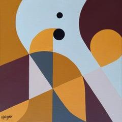 """Salutary Outburst"", Neue Constructivist Geometric Abstract Acrylic Painting"