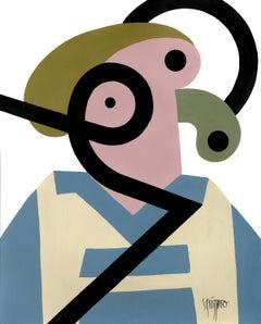 """Spleen Doctor"", Neue Constructivist Abstract Character Acrylic Painting"