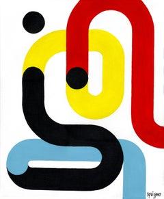 """String Man"", Neue Constructivist Abstract Character Acrylic Painting"