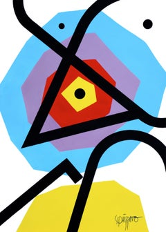 """Third Eye"" Blue Purple Red Yellow Neue Constructivist Abstract Acrylic Painting"