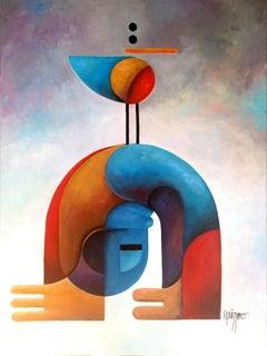"""Yogi Bird"", Front Bending Neue Constructivist Semi-Abstract Acrylic Painting"
