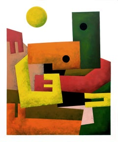 """""""Your Shoulder"""", Neue Constructivist Semi-Abstract Acrylic Painting"""