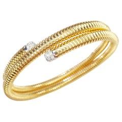 Antora Tubogas 18k Rose Gold Tubogas and Diamonds Clamper Bracelet