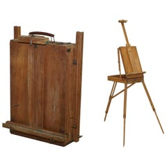 Antqiue Original Lechertier Barbe Ltd. Folding Artist Easel Travel Tripod Stand