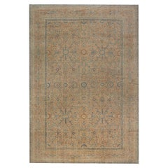 Antqiue Persian Kirman Orange, Beige & Blue Hand-knotted Wool Rug