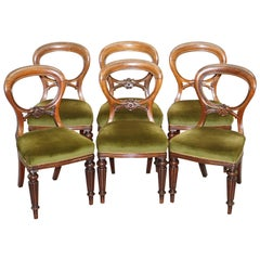 Antque Suite of circa 1860 Victorian Balloon Medallion Back Dining Chairs