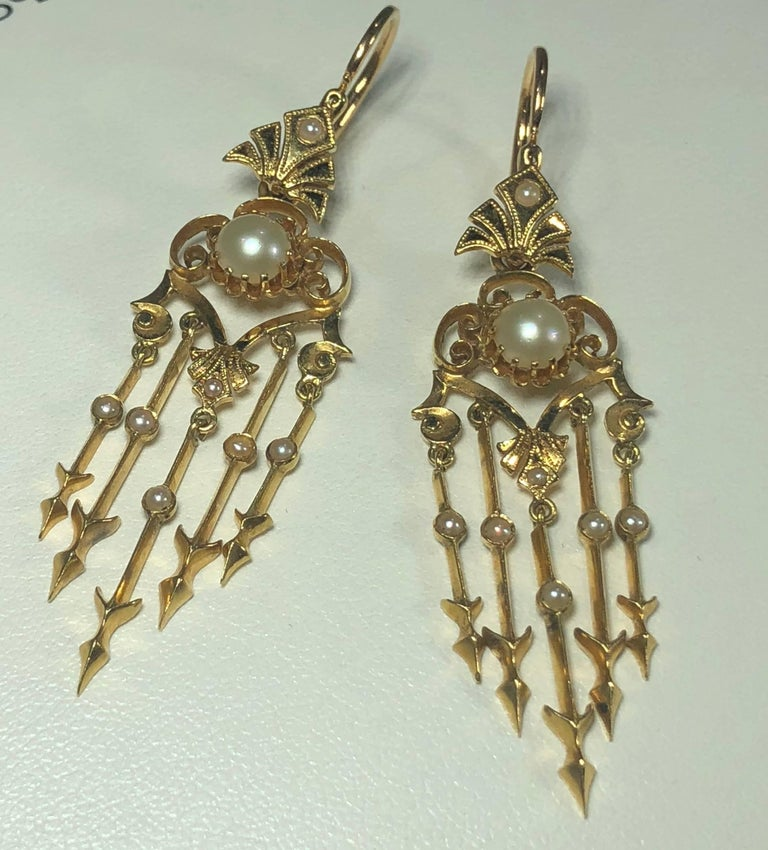 Antique Victorian 18 Karat Natural Pearl and Seed Pearl Chandelier Earrings For Sale 6