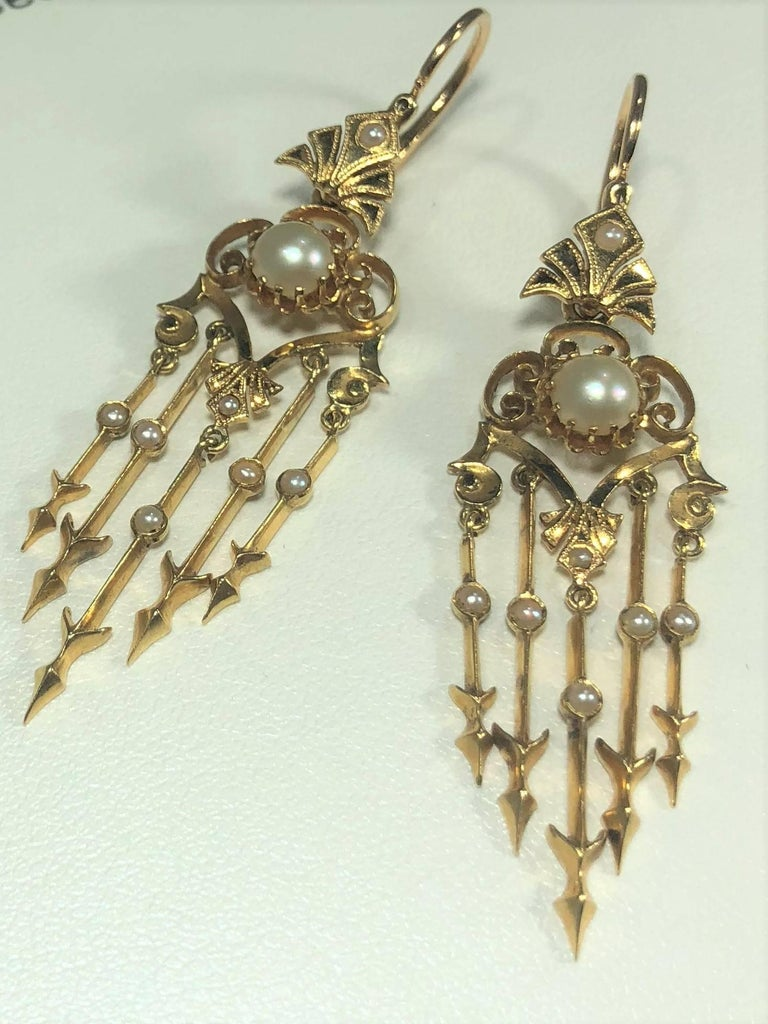 Antique Victorian 18 Karat Natural Pearl and Seed Pearl Chandelier Earrings For Sale 7