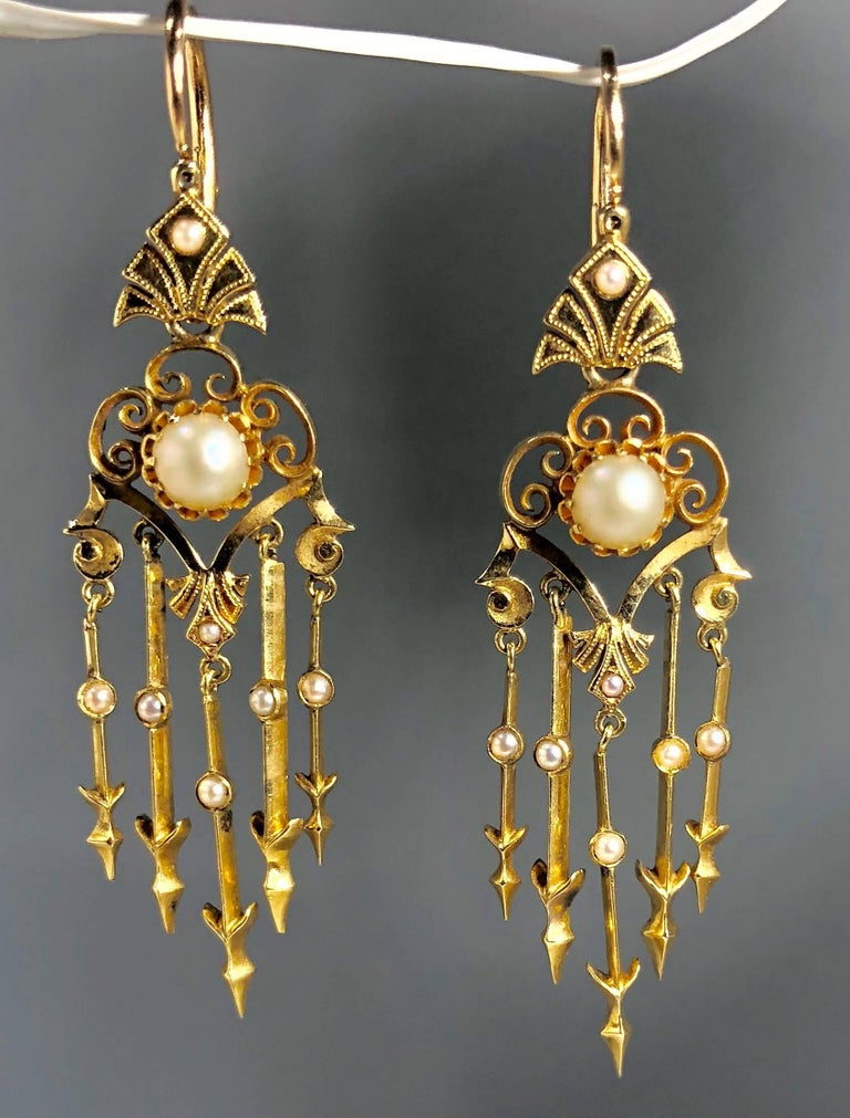 Antique Victorian 18 Karat Natural Pearl and Seed Pearl Chandelier Earrings In Excellent Condition For Sale In Mansfield, OH