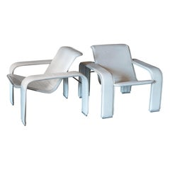 Antti Nurmesniemi Pair of White Leather Lounge Chairs, Finland 1980s