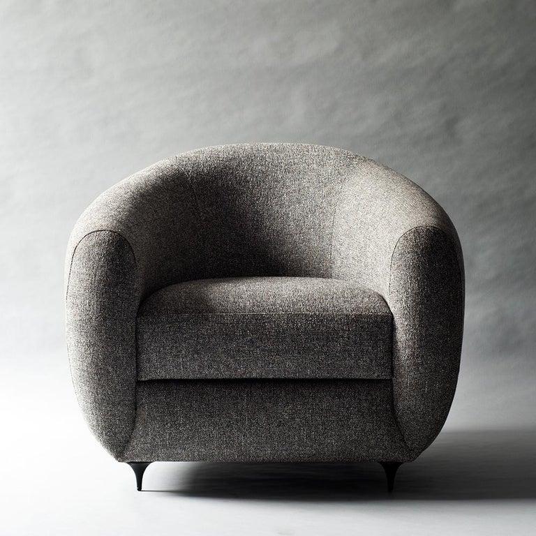 Antwerp Side Chair by DeMuro Das with Hand-Cast Legs in Solid Black Satin Bronze 2
