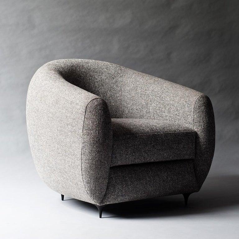 Antwerp Side Chair by DeMuro Das with Hand-Cast Legs in Solid Black Satin Bronze 4