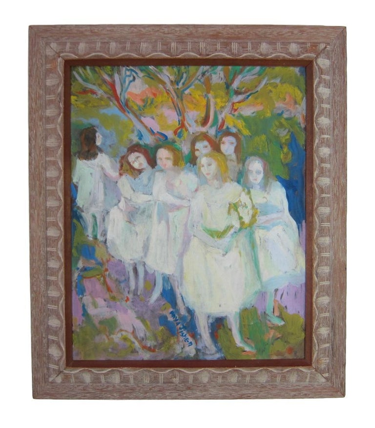 Anya Fisher painting of you women outdoors - Modern Painting by Anya Fisher