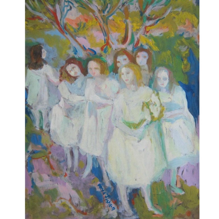 Anya Fisher painting of you women outdoors - Painting by Anya Fisher