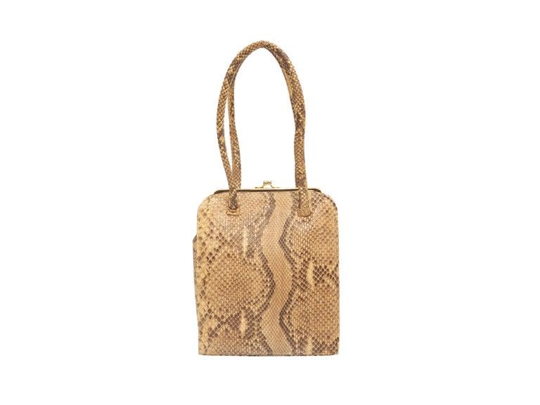 Anya Hindmarch Beige & Black Python Handbag In Good Condition In New York, NY