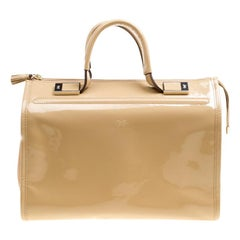 Anya Hindmarch Beige Patent Leather Satchel