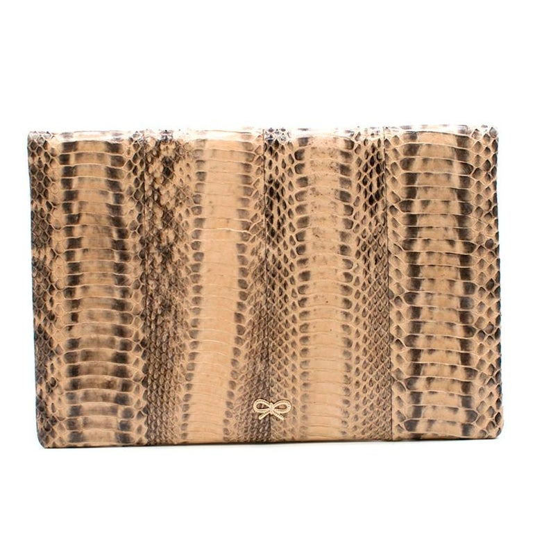 Anya Hindmarch Beige Python Valorie Clutch Bag In New Condition For Sale In London, GB