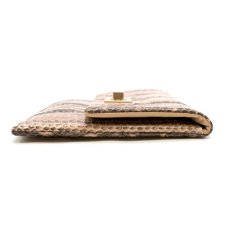 Women's Anya Hindmarch Beige Python Valorie Clutch Bag For Sale