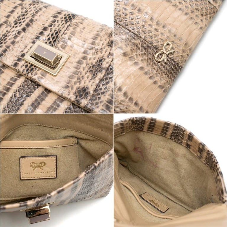 Anya Hindmarch Beige Python Valorie Clutch Bag For Sale 1