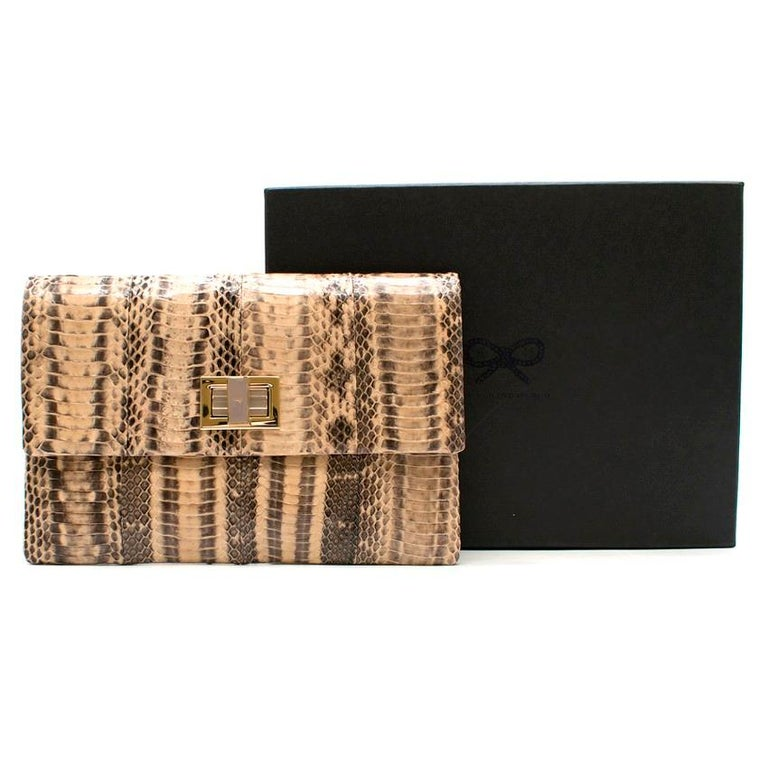 Anya Hindmarch Beige Python Valorie Clutch Bag For Sale 4