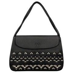 ANYA HINDMARCH Black Embroidered Satin Evening Mini Handbag