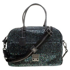 Anya Hindmarch Black Glitter and Leather Carker Boston Bag
