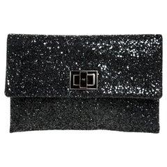 Anya Hindmarch Black Glitter Flap Clutch