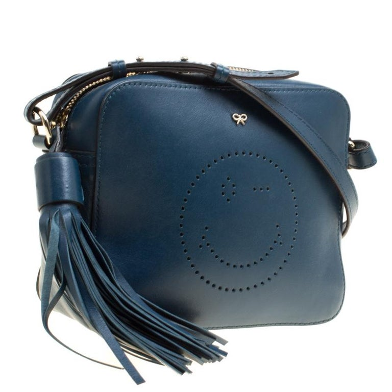 Anya Hindmarch Blue Leather Smiley Crossbody Bag For Sale 5