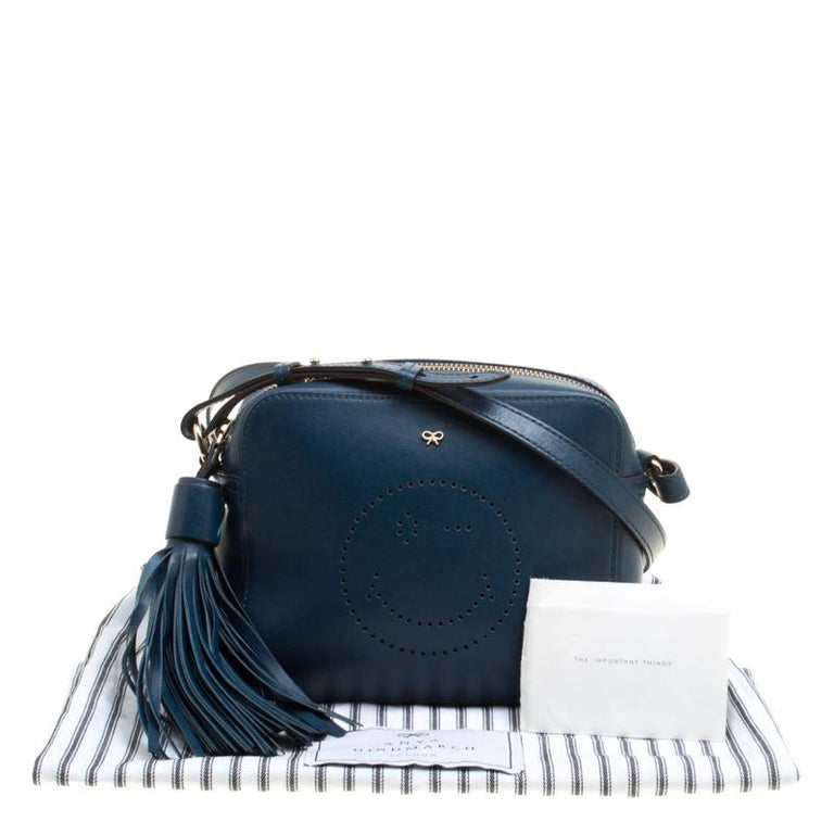 Anya Hindmarch Blue Leather Smiley Crossbody Bag For Sale 6