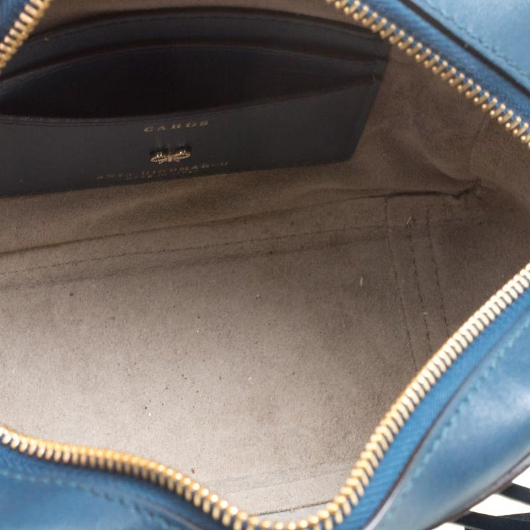 Anya Hindmarch Blue Leather Smiley Crossbody Bag For Sale 2