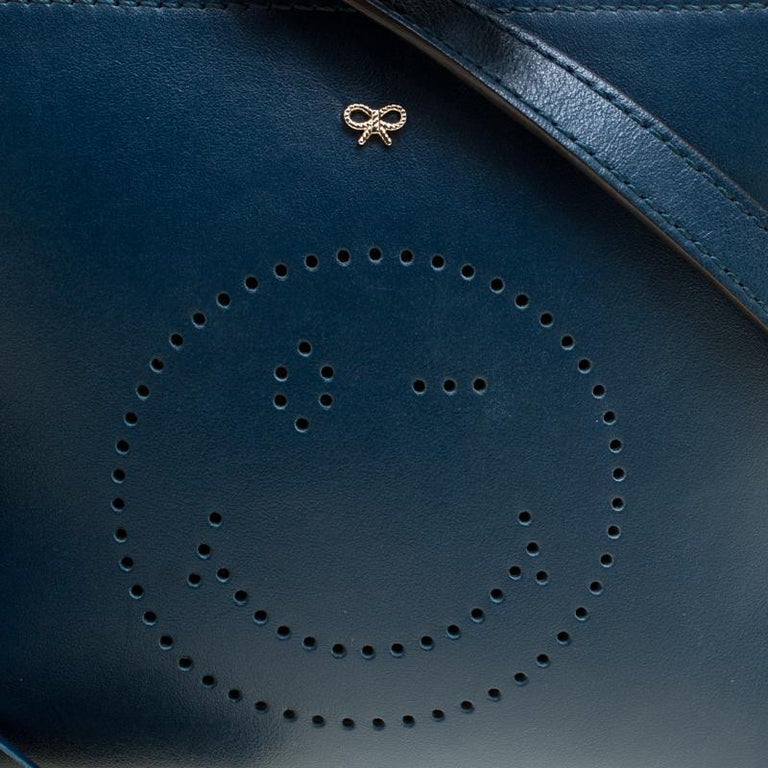 Anya Hindmarch Blue Leather Smiley Crossbody Bag For Sale 4