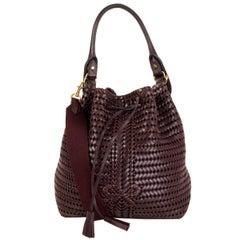 ANYA HINDMARCH burgundy woven leather Bucket Shoulder Bag