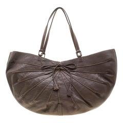 Anya Hindmarch Dark Grey Bow Tassel Leather Hobo