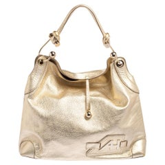 Anya Hindmarch Gold Leather Elrod Hobo