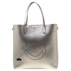 Anya Hindmarch Grey Metallic Leather and Canvas Wink Ebury Shopper Tote